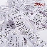 GeKLok - Bolsitas de gel de Silica, absorben la humedad y la humedad, 3 x 4 cm, color blanco