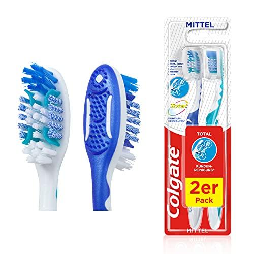 Colgate Zahnbürste Total Rundum-Reinigung mittel, 2er Pack - Handzahnbürste reinigt Zahnoberflächen, Zunge, Wangen und bis tief in die Zahnzwischenräume