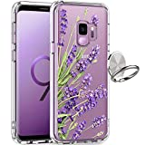 GiiKa Galaxy S9 Case, Clear Heavy Duty Shockproof Girls Women Protective Phone Cover Case for Samsung Galaxy S9, Purple Flowers
