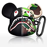 EZICOK Cool Camouflage Shark Mouth Zipper Bear Soft Silicone AirPods Pro Case for Apple AirPod Pro, Cute Funny Street Fashion Shockproof AirPod Cover with Keychain for Couples Boys Girls Kids Teens