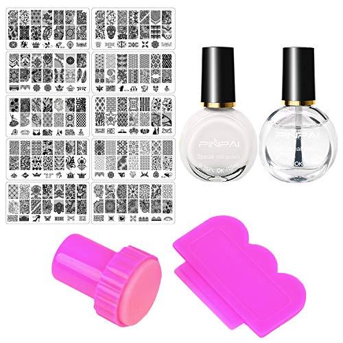 14 STKS Nail Art Stamping Tools Set met Platen Stamper Schraper Nagellak Top Coat voor Home Professionele Salon Beginners Manicure DIY Decoratie Benodigdheden