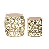 Cribel modèle Grimy Lot de 2 Tables gigognes en métal avec Finition dorée, Style Oriental