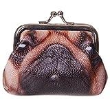 NO BRAND - Monedero con impresión de Cara de Perro Cachorro Carlino Pug