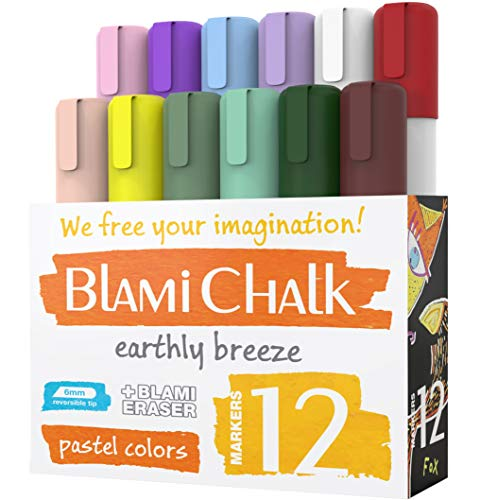Blami Arts Chalk Markers 12 Pastel Pens Set - Earth Colors Chalkboard Markers - Non-Toxic Water-based Liquid Chalk Markers with Reversible Tips and Erasing Sponge Included