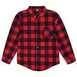 Edjude Camisa a Cuadros Rojo para Niños Niñas de Manga Larga con Botón Casual Formal Algodón Cepillado Chaqueta 9-10 años