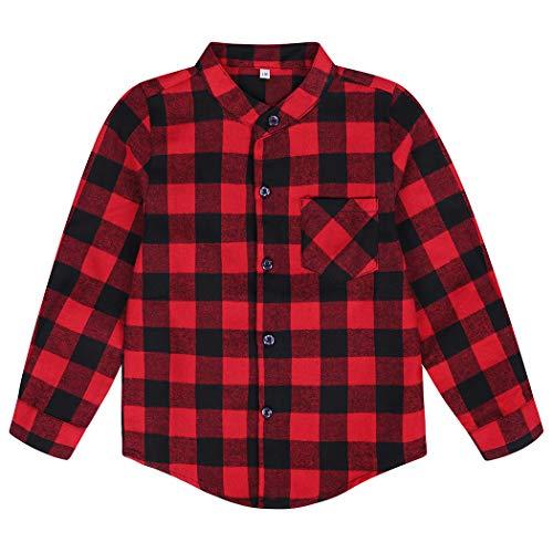 Edjude Camisa a Cuadros Rojo para Niños Niñas de Manga Larga con Botón Casual Formal Algodón Cepillado Chaqueta 3-4 años