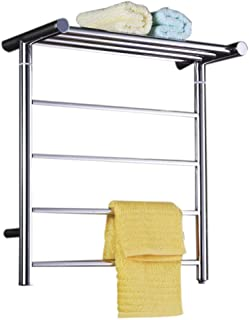 Stainless Steel Dry Heated Towel Rail, 500 550 MM Chrome Towel Radiator Heater with Concealed Switch, for Kitchen Bathroom Toilet Hotel or Office