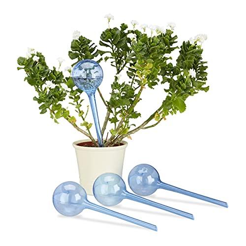 Relaxdays 10023226_45 Set 4 Sfere per Irrigazione, Dosatori d'acqua per Piante da Vaso, Durata 2...
