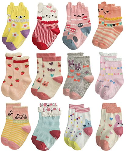 RATIVE Non Skid Anti Slip Cotton Dress Crew Socks With Grips For Baby Infant Toddler Kids Girls (6-12 Months, 12-pairs/RG-820726)