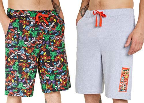 Marvel Kurze Hosen Herren, 2er Pack Shorts Herren für Sommer, Avengers Jogginghose Herren, Fitness Sport und Freizeithose, Geschenke für Männer (3XL)