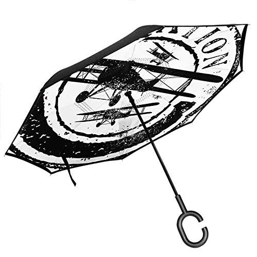 Flugzeug Regenschirm Stempel Design mit Word Aviation und Airline Auto Reverse Double Layer Inverted Windproof UV-Schutzschirm -K264