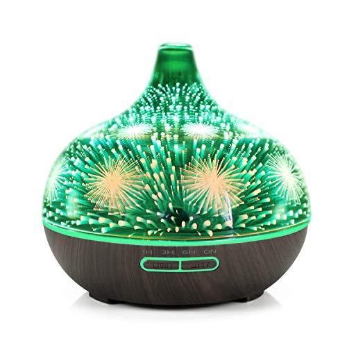 EWENYS Difusor de aroma, 400 ml, fuegos artificiales, cristal 3D, ultrasónico, difusor de aceites esenciales, lámpara de aromaterapia, difusor de aceites esenciales, humidificador ultrasilencioso