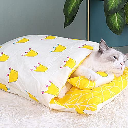 Qagazine Cálido gato saco de dormir extraíble gato cama invierno cálido gato casa pequeña mascota cama para los amantes de las mascotas