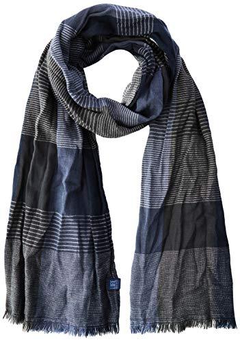 camel active Herren 407260/2V26 Schal, Blau (Blue Checked 42), One Size (Herstellergröße: OS)