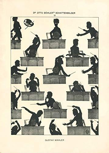 Affiche vintage opéra et musique classique GUSTAV MAHLER From The Otto Bohler Silhouettes, 1914. Papier brillant 250 g/m²