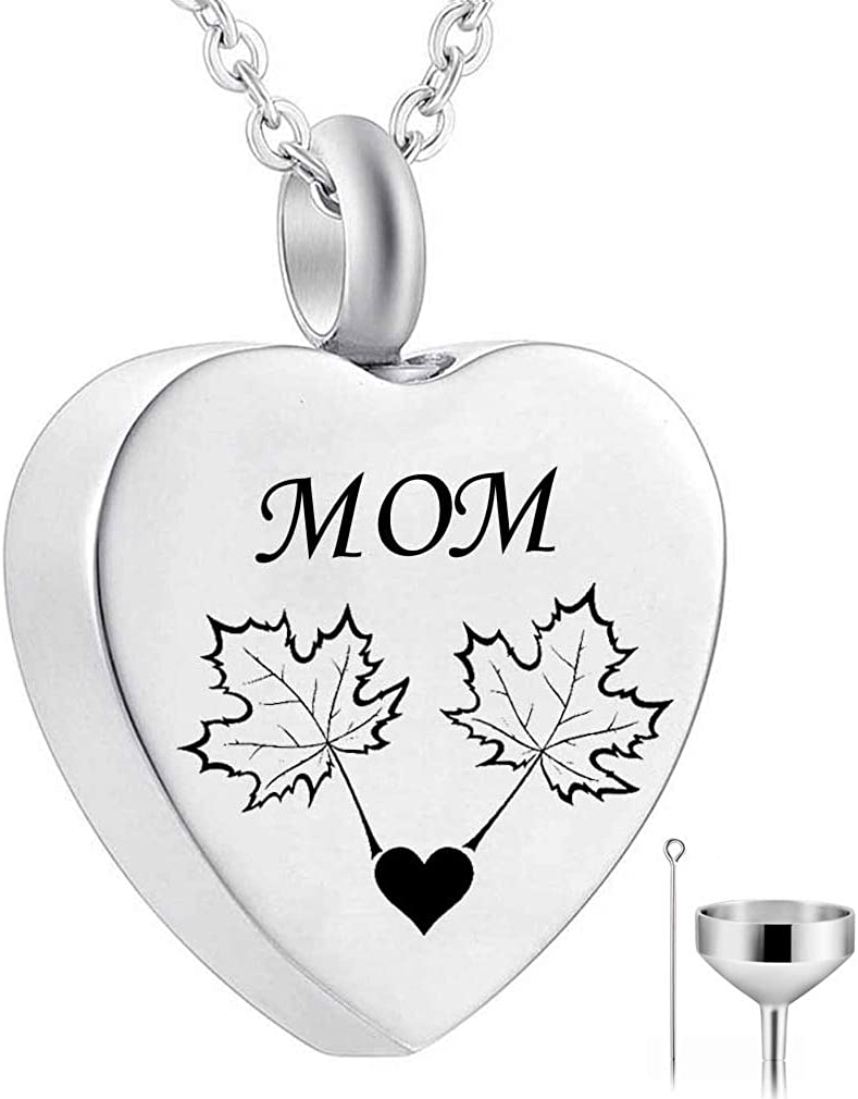 Heart Cremation Memorial Keepsake Pendant Maple Leaf Necklace Jewelry with Fill Kit HQ Urn Necklace for Ashes