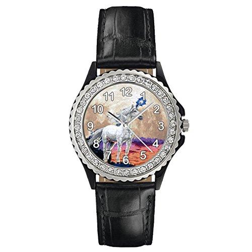 Timest - Unicornio - Reloj del Cuero Negro para Mujer con piedrecillas Analógico Cuarzo CSG0076b
