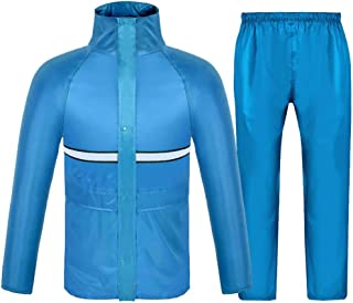 YSNRH Rain Wear Rainsuit Jacket and Trouser Set,Men Women Adults Double Thick Waterproof Hooded Riding Split Raincoat Rainy Season,Snowy Day,Outdoor Events (Color : Sky Blue, Size : XXL)