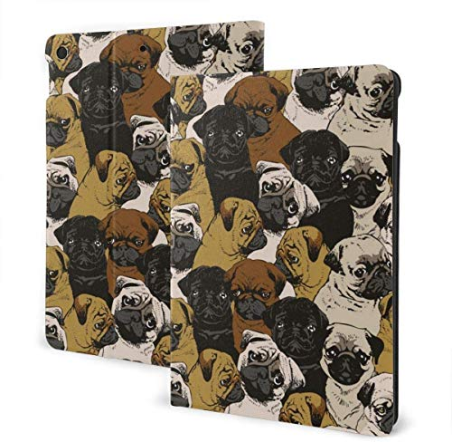 Dragon Funda para el Nuevo iPad 7a generación de 10,2 Pulgadas 2019 con visualización en Varios ángulos Folio Smart Stand Cover Auto Wake / Sleep para iPad 10,2 'Tablet-Cute Pug Dog-One Size