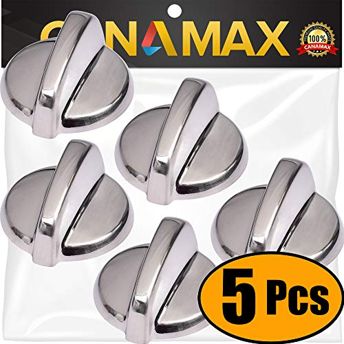 UPGRADED WB03T10325 Range Surface Burner Knob ALMOST METAL Premium Replacement Part by Canamax - Compatible with GE Cooktop/Stove/Oven Models - Replaces AP5690210 PS3510510 2691864 - PACK OF 5