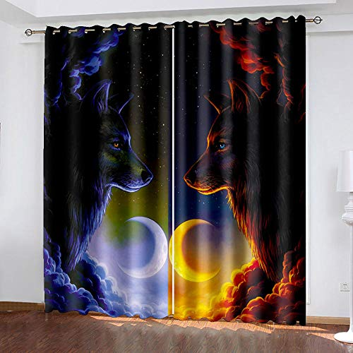 Blackout Curtains Sun Moon Wolf European Painted Living Room Polyester Curtains 3D Photo Window Luxury Drapes 220Cm X 215Cm