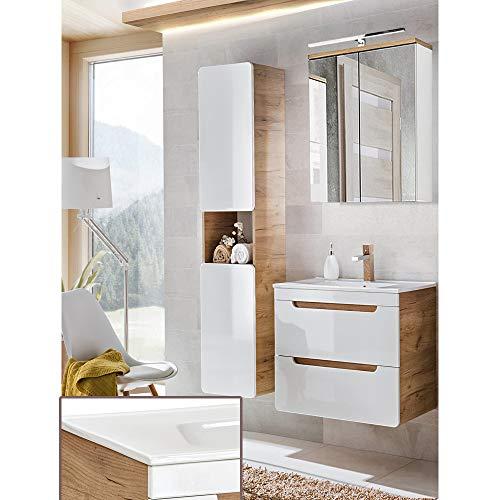 Lomadox Komplett Badezimmer Set in Hochglanz weiß mit Wotaneiche, 60cm Keramik-Waschtisch mit Unterschrank, LED-Spiegelschrank & Hochschrank