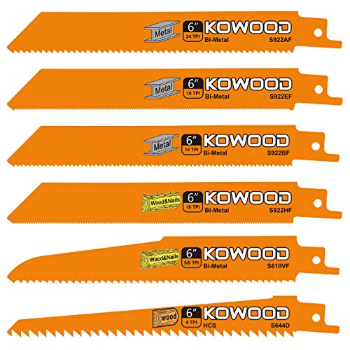 6-Inch Metal/Wood Saw Blades for Reciprocating/Sawzall Saws/Sabre Saws by KOWOOD - 6 Pcs Pack All Purpose Set