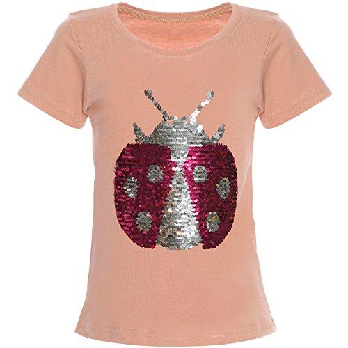 Mädchen Wende-Pailletten T-Shirt Bluse Kurzarm Shirt 21356 Lachs Größe 152