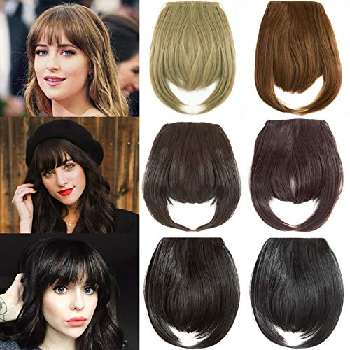 Felendy Clip in Bangs Fringe Front Neat Straight Hairpiece One Piece Clip-on Hair Extensions with Temples Cute Medium Brown