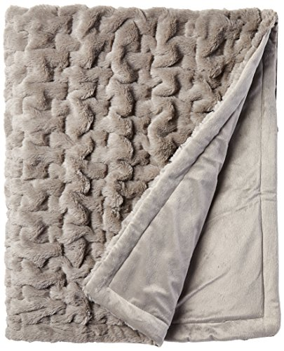 Madison Park Ruched Fur Luxury Throw Grey 5060    Premium Soft Cozy Brushed Long Fur For Bed, Coach or Sofa