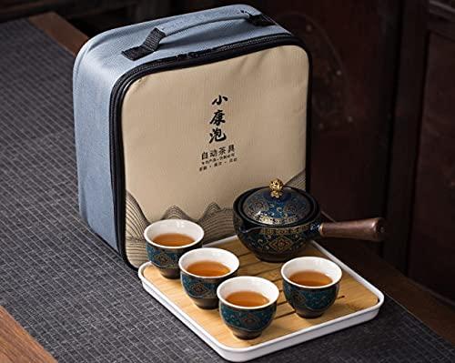 DUNGS Kung fu Ceremonia del té Conjunto automática giratoria Hacer el té de cerámica de los Tea Pot portátil de Viaje RegaloTeaware