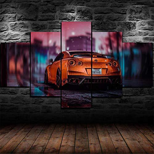 HHGJJ Cuadro En Lienzo 5 Piezas Póster Nissa GT-R Super Sports Car 5 Piezas Pintura sobre Lienzo,5 Piezas Imagen Impresión,Pintura Decoración Pared,Canvas 5 Piezas,Tejido No Tejido Moderna 5 Piezas