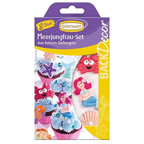 Günthart BackDecor 8 Zuckerfiguren Meerjungfrau | Fisch | Krabbe | Seestern | Muschel | Seepferdchen
