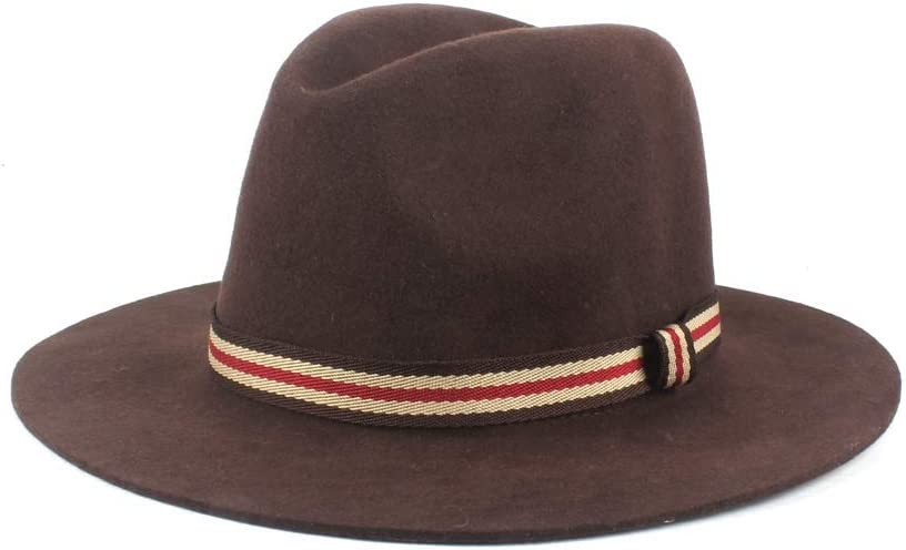 U/D Men Women Big Brim Hat Jazz Couple Hat Wool Polyester Fedora Hat Autumn Winter Gentleman Hat Retro SZMAABBC (Color : Brown, Size : 56-58cm)