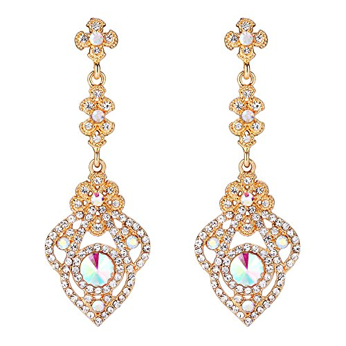 Clearine Damen Viktorianisch Stil Kristall Art Deco Gatsby Inspiriert Blume Chandelier Dangle Ohrringe Iridescent Klar AB Gold-Ton