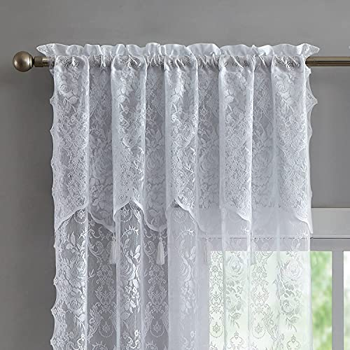 """WARM HOME DESIGNS Pair of 2 White Color Standard Length 54"""" (W) x 84"""" (L) Semi Sheer Lace Curtain Panels & Attached Valances with 4 Tassels. Classic Elegant English Rose Pattern. L White 84"""""""