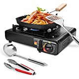 Odoland 6 pcs Camping Stove Set with Camping Cookware, Portable Butane Gas Stove, Nonstick Frying...