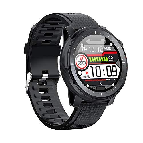 GUO L15 Smart Watch Herzfrequenz-Detektor Fitness Tracker Pedometer IP68 wasserdicht Custom-Wahlrad intelligente Sportuhr mit LED-Außenleuchte, Geeignet for IOS/Android (Color : Black)