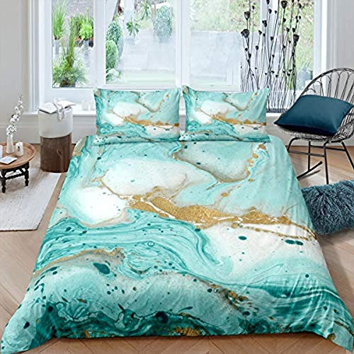 Erbaeo Duvet Cover Set 4 Pieces - Green Flowing Gold Marble Texture - Printed Bedding Quilt Cover With Zipper Closure For Bedding Decro, Ultra Soft Microfiber Double Super King (260 X 230 Cm)