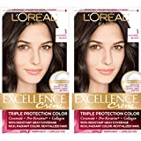 L'Oreal Paris Excellence Creme Permanent Hair Color, 3 Natural Black, 100 percent Gray Coverage Hair Dye, Pack of 2
