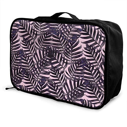 Qurbet Bolsas de Viaje, Ultraviolet Jungle Leaves Pattern Overnight Carry On Luggage...