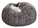 PGFUNNY Durable Comfortable Bean Bag Chair PV Fur Bean Bag Sofas Faux Fur Sofa Living Room Sofa Bed for Adult (Color : Dark Gray)(No Filler) (Light Grey)