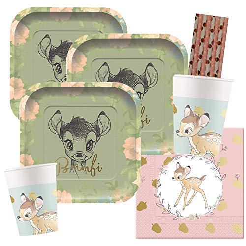 spielum 44-teiliges Premium Party-Set Bambi - Teller quadratisch Becher Servietten Trinkhalme Rose/Gold für 8 Kinder