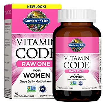 Garden of Life Vitamin Code Raw One for Women Once Daily Multivitamin for Women - 75 Capsules One a Day Women Vitamins Fruits Veggies Probiotics for Womens Health Vegetarian Gluten Free