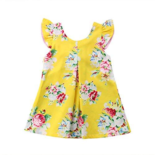 Vestido infantil de tule com laço floral e manga floral para bebês meninas recém-nascidas para festa de princesa 1-6 anos