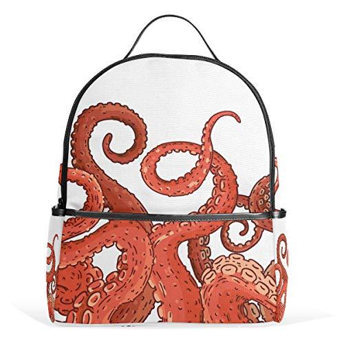 Mochilas escolares para niños y niñas, pulpo, calamares, animales marinos, ligeras, personalizables, bolsa de hombro