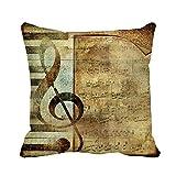 N\A Throw Pillow Cover Beige Music Musical Note Page Yellow Antique Sepia Stripes Funda de Almohada Funda de Almohada Cuadrada Decorativa para el hogar Funda de cojín