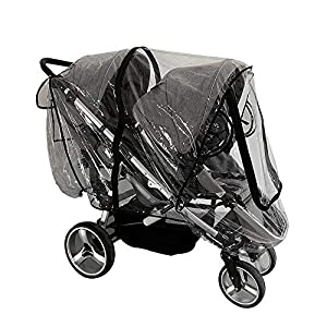 Weather Shield for Front and Rear Double Stroller.Universal Double Stroller Cover for Baby Protection Outdoor