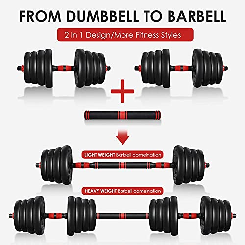 ETEREAUTY Dumbbells Set, 2 in 1 Barbell Weight Set Solid Adjustable Weight Dumbbells up to 66LBS with Connecting Rod & Anti-Slip Weight Dumbbell Set for Men & Women Strength Training Workout Gym