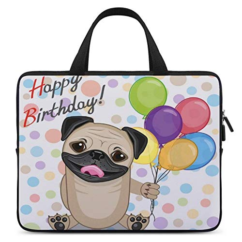 Universal Laptop Bag,MacBook Sleeve Bag,Notebook Computer Bag,13inch,for Apple/MacBook/HP/Acer/Asus/Dell/Lenovo/Samsung,Color for Birthday Decorations for Kids,Animal Cute Dog Smiling Pug with Party B